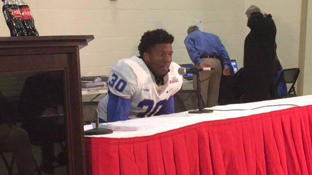 Middle Tennessee linebacker Darius Harris had 12 tackles and a forced fumble, which led to a touchdown, in the 35-30 win over Arkansas State in Saturday's Raycom Media Camellia Bowl.