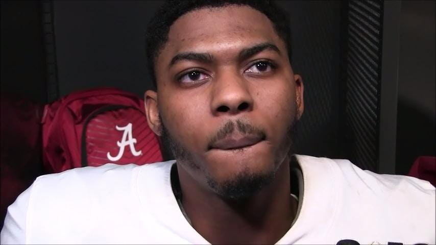 Alabama sophomore linebacker Mekhi Brown talked about being flagged for a 15-yard penalty in Monday night's College Football Playoff title game.