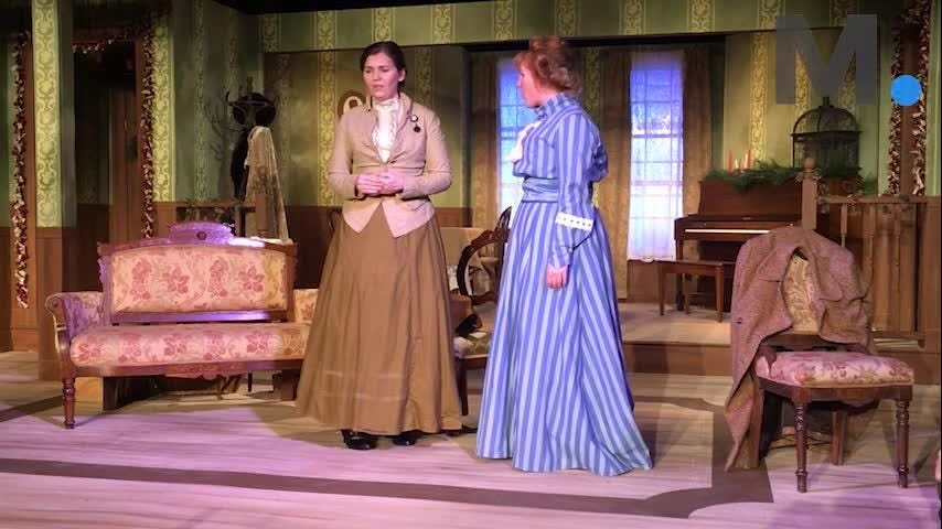 "A rehearsal scene from ""A Doll's House"" at Cloverdale Playhouse in Montgomery, featuring actors Sarah Atkins as Nora and Mariah Reilly as Kristine. The play, written in 1879 by Henrick Ibsen, runs Feb. 8-18."