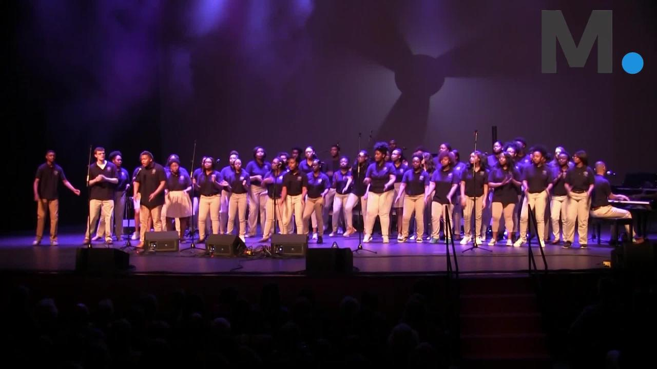 "Booker T. Washington Magnet Choir sang, capped and marched up to the stage in style to perform the Simon & Garfunkel classic ""Bridge Over Troubled Water"" on Saturday, Feb. 17, 2018, at the Montgomery Performing Arts Centre at Rising Stars Road Show."