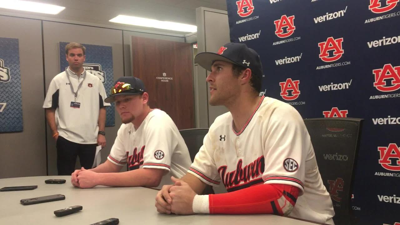 Auburn RHP Cody Greenhill & INF Brandon Venter after 3-2 win over Georgia State.