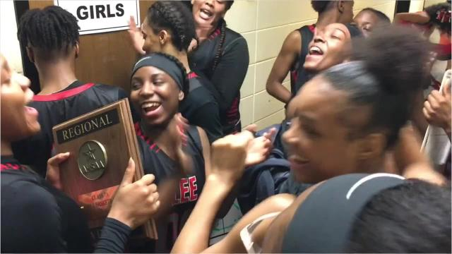 The Robert E. Lee girls basketball team shows some moves after winning the 7A Central Regional championship Tuesday.