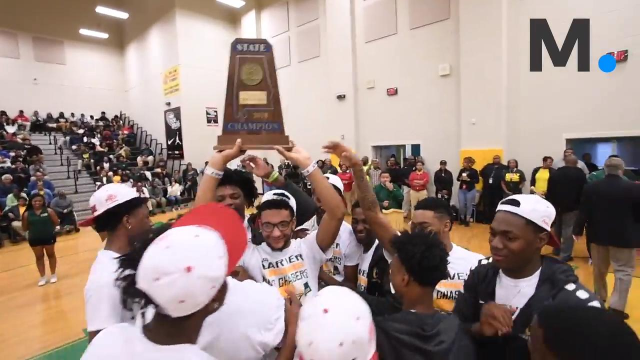 Carver High School holds its AHSAA Class 6A State Basketball Championship trophy presentation on the school campus in Montgomery, Ala. on Friday March 9, 2018.
