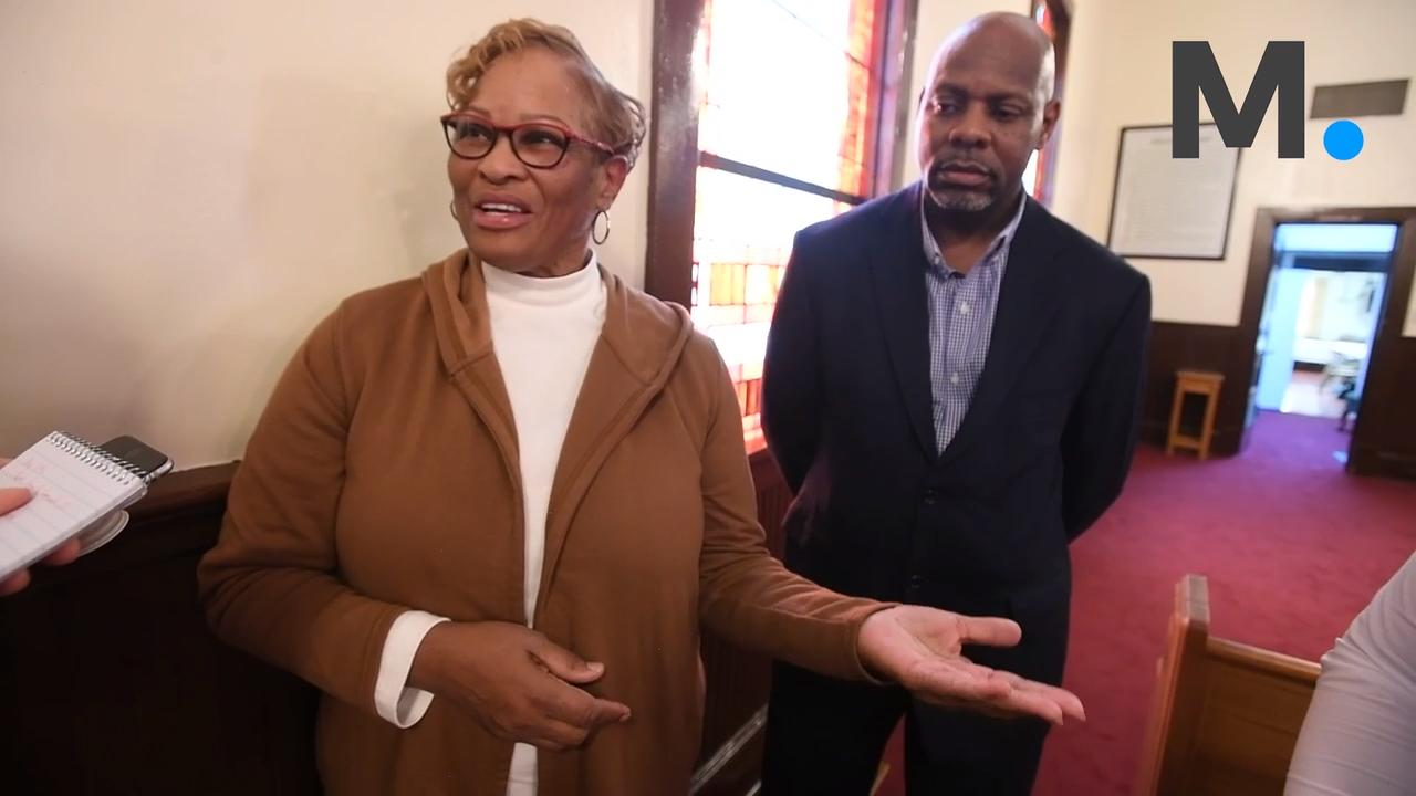 Earnestine Woods, of Have a Heart 4 Children, presents Hall Street Baptist Church an Alabama Register of Landmarks and Heritage plaque at the church in Montgomery, Ala. on Wednesday March 14, 2018.