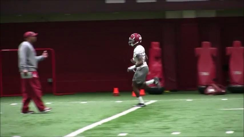 Check out Alabama's offensive line, wide receivers, running backs and Nick Saban working with the defensive backs on the first day of spring ball Tuesday.