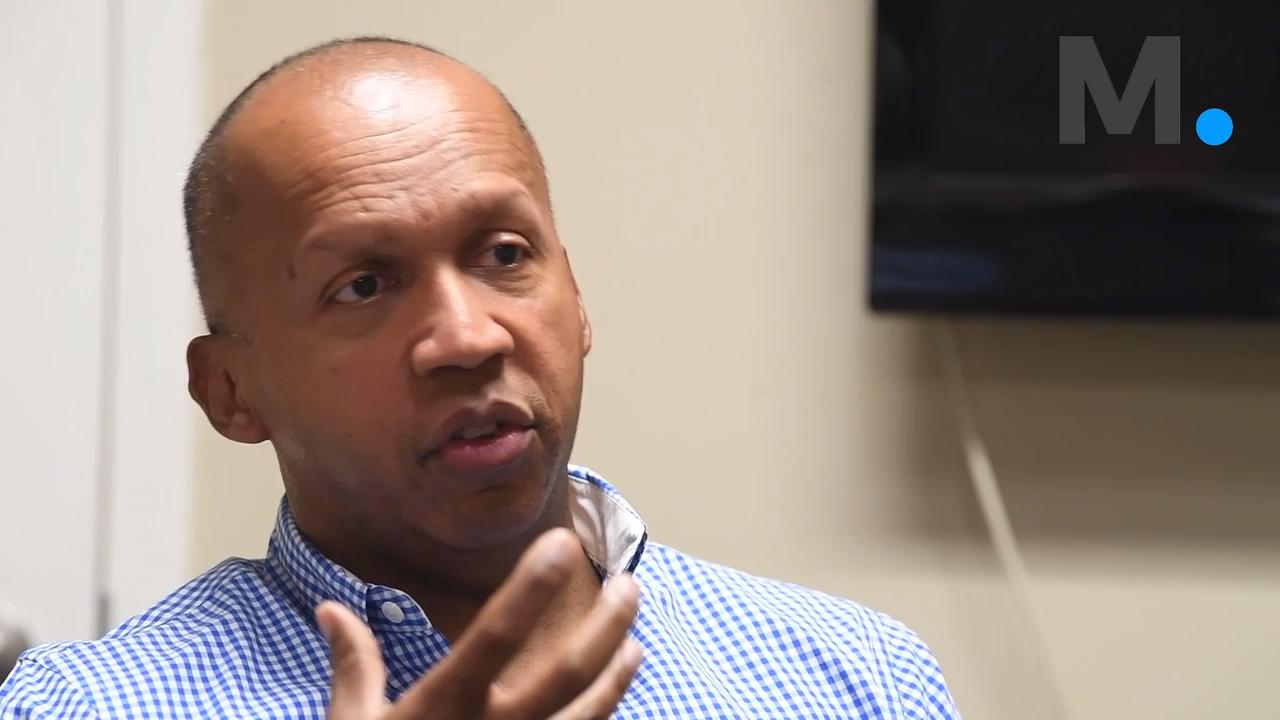 Bryan Stevenson, Executive Director of the Equal Justice Initiative,  talks about placing the National Memorial for Peace and Justice in Montgomery, Ala. during an interview at the EJI offices on Friday April 13, 2018.