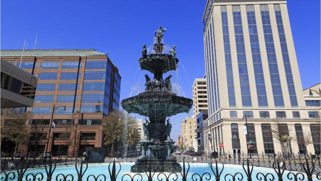 The Court Street Fountain is at the heart of downtown Montgomery.