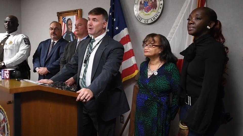 Lt. Shawn Loughridge, of the State Bureau of Investigation, asks for help in a double murder investigation during a news conference at the ALEA headquarters in Montgomery, Ala. on Friday May 25, 2018.