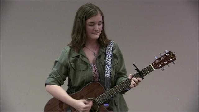 "Wetumpka teen singer/songwriter shares one of her original songs ""Little Old Me,"" during a performance recently at the Montgomery Advertiser."