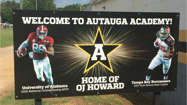 Former Alabama and current Tampa Bay Buccaneers tight end O.J. Howard returned to Autauga Academy to host his second annual football camp on Saturday.