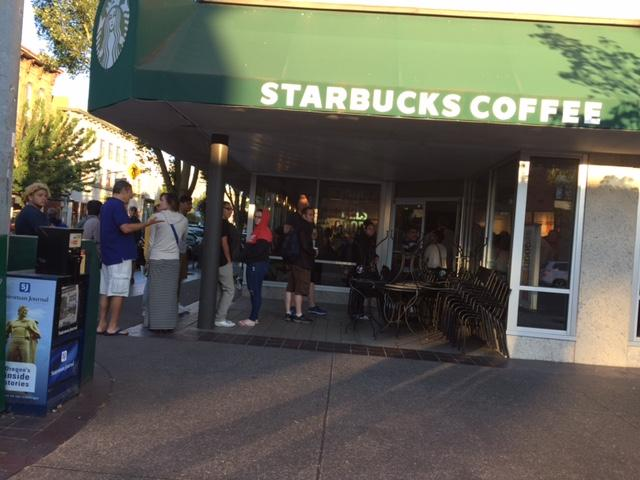 The most popular eclipse morning activity: Waiting in line for coffee