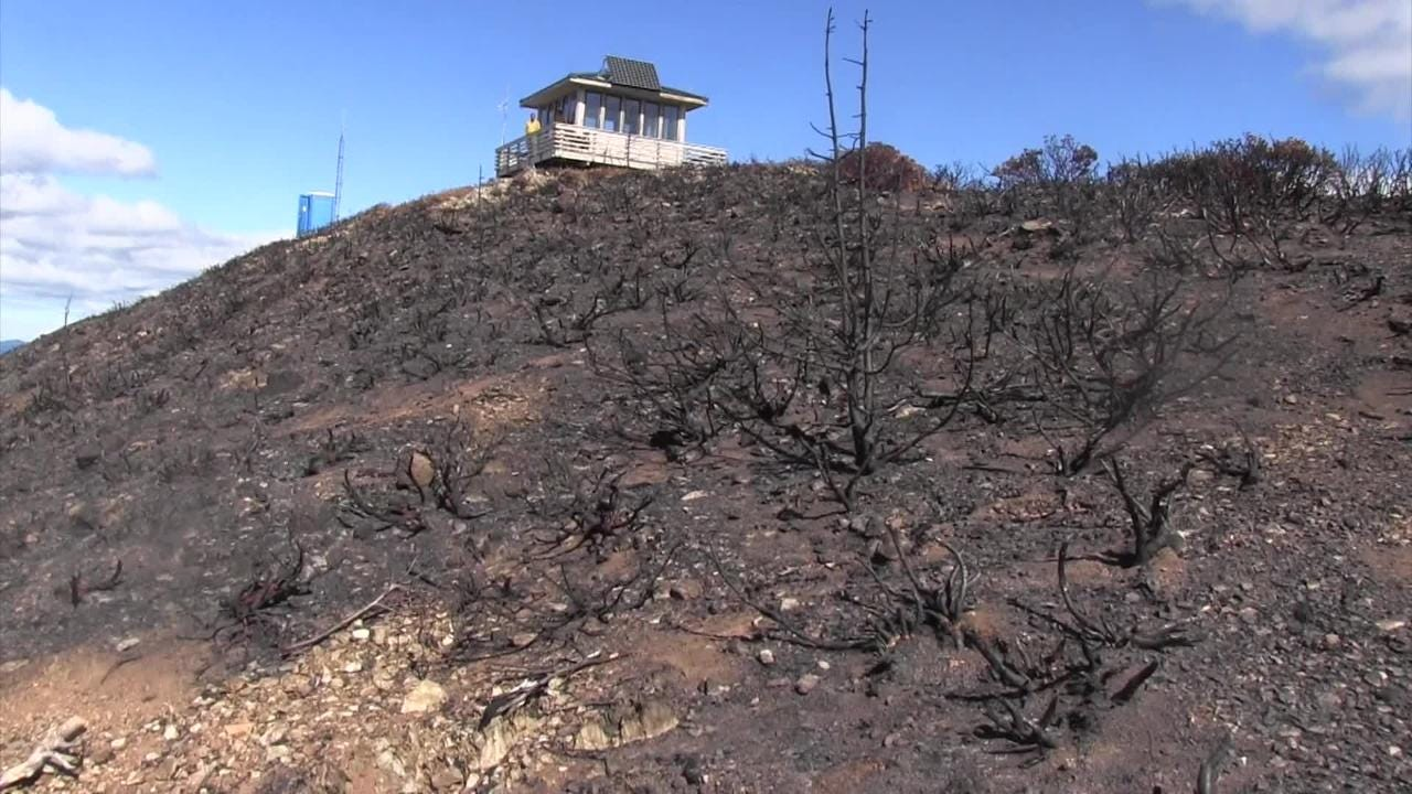 Views from a lookout in southwest Oregon right in the middle of burn scars from two of Oregon's largest wildfires