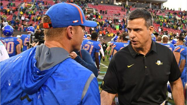 Oregon lost 38-28 to Boise State in the Las Vegas Bowl on Saturday. The Ducks are 0-3 against Boise State in the past 10 seasons. PETE MARTINI / STATESMAN JOURNAL