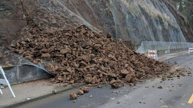 River Road South was closed late Monday following a rock slide.