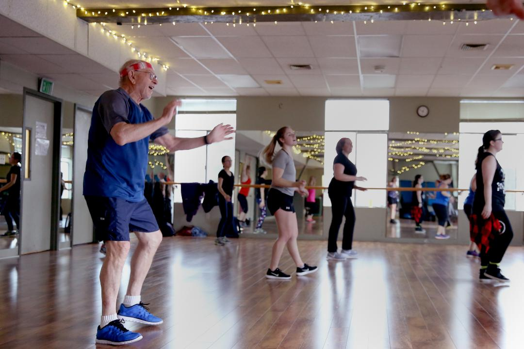Bob Zakes, 76, dances in Zumba classes three times a week where he is often the only man in the room.