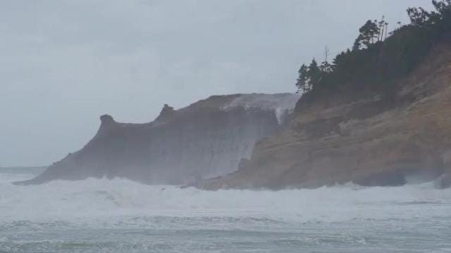 Waves on the Oregon Coast were very large Thursday, with high surf conditions creating extreme danger on beaches and jetties.