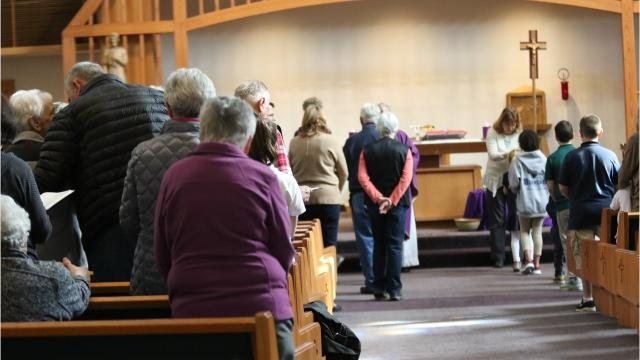 We visited Queen of Peace Catholic Church for the Ash Wednesday service, where parishioners were anointed to honor the day.