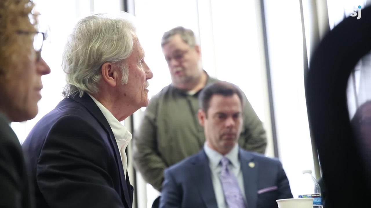 Former Gov. John Kitzhaber attends the Oregon Government Ethics Commission meeting before they voted on whether or not he violated state ethics laws 11 times while in office. Kitzhaber was charged with 10 ethics violations.