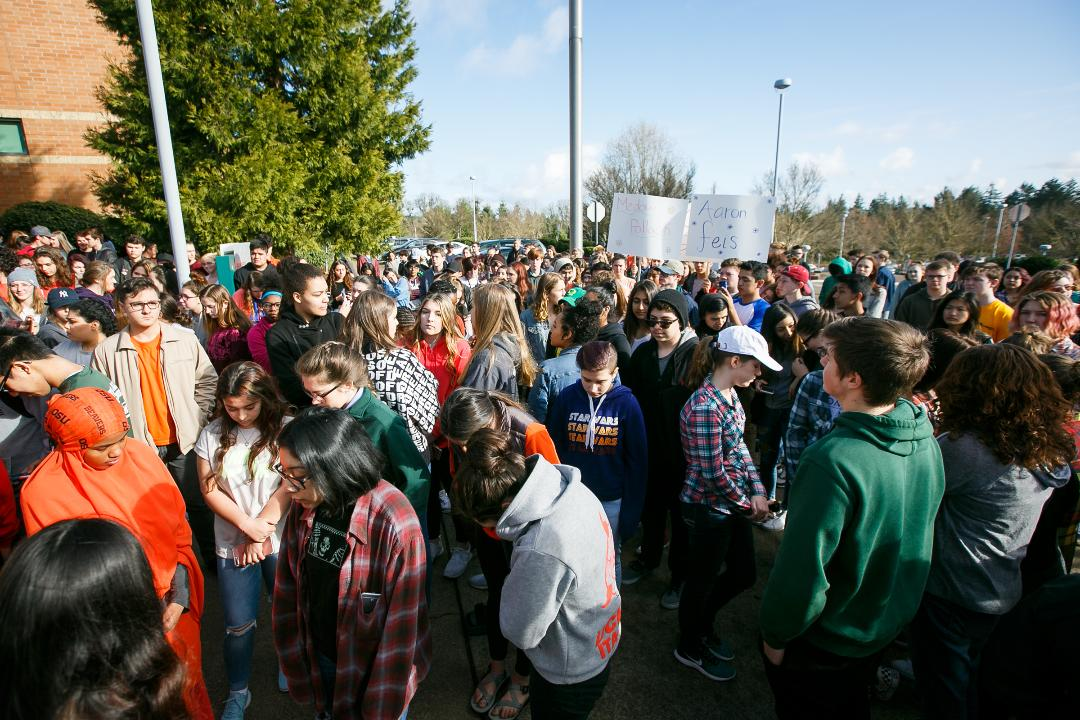 Salem-Keizer students participate in student-led walkouts of classes, part of a national demonstration to protest gun violence and emphasize school safety, on Wednesday, March 14, 2018.