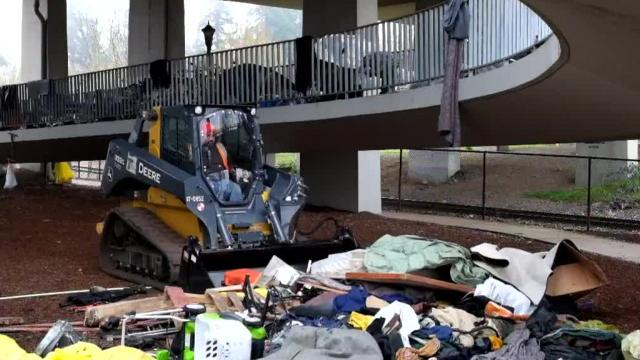 Homeless camp cleared from Center Street Bridge