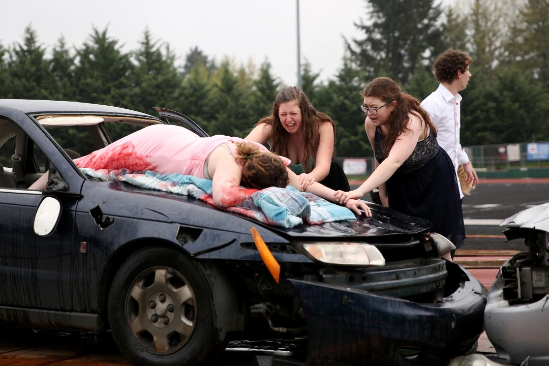 The dramatization showed the reality of drinking and driving for students ahead of prom and graduation season.