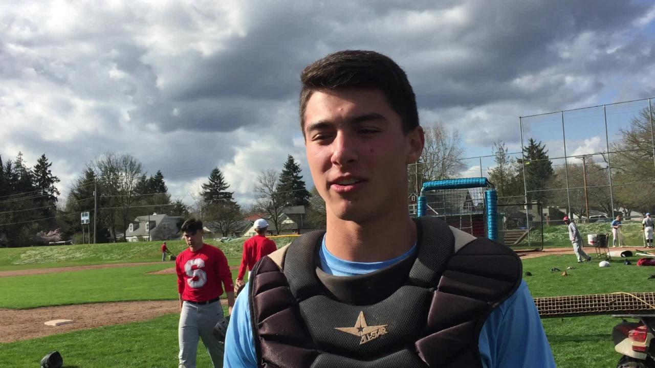 South Salem senior catcher Aaron Zavala talks about the Saxons' strong start on April 2, 2018.