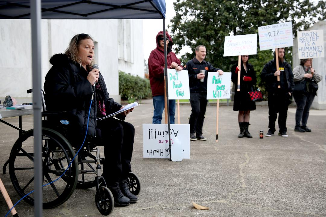"The ""Don't Punish Pain"" rally drew about 40 people to the Oregon State Capitol on Saturday, part of a nationwide series of protests."
