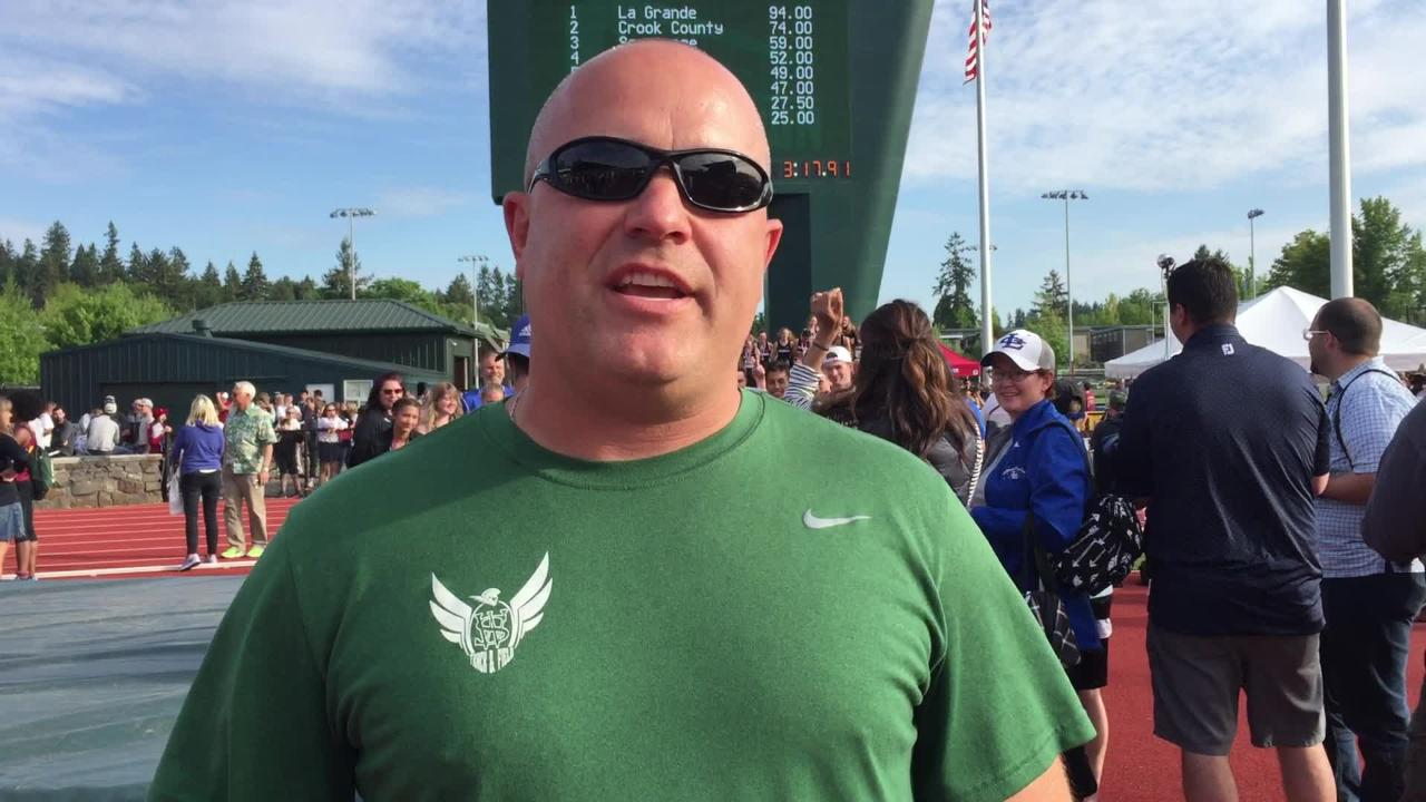 West Salem track and field coach Erich Herber talks about winning the Class 6A boys state championship at Hayward Field on May 19, 2018.