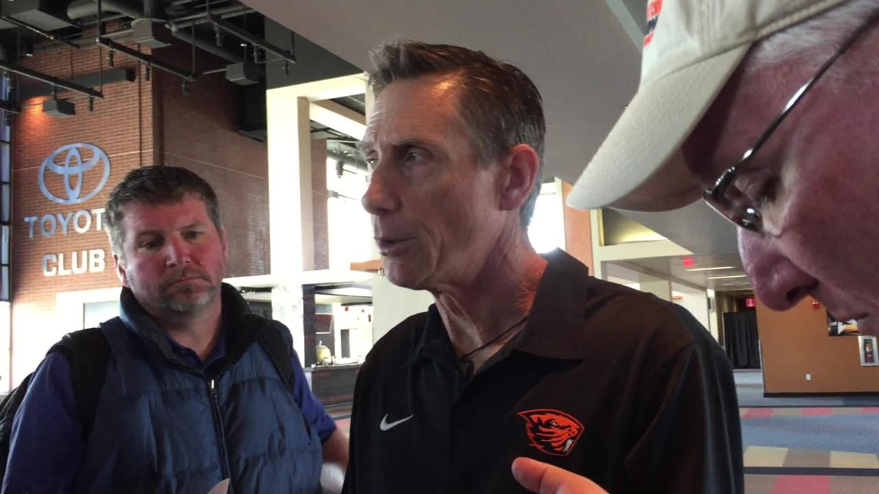 OSU baseball coach Pat Casey talks about receiving the No. 3 national seed on May 28, 2018.