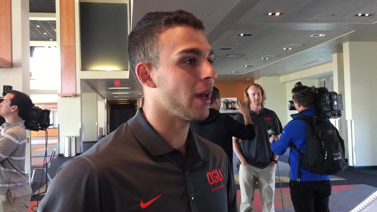 Oregon State second baseman Nick Madrigal talks about having no distractions when it comes to the NCAA Tournament on May 28, 2018.