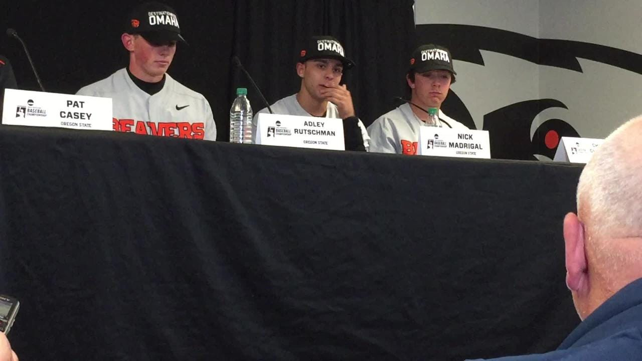 Oregon State's Adley Rutschman (left) and Nick Madrigal talk about getting back to the College World Series on June 9, 2018.