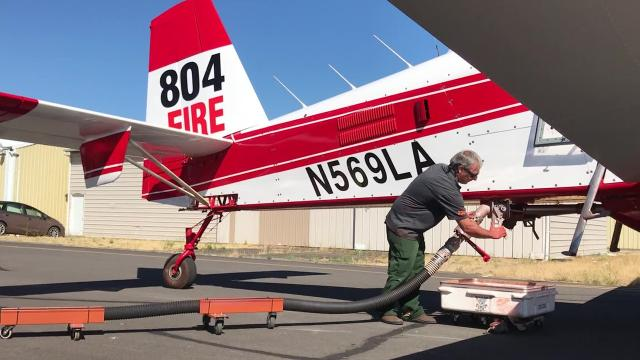 Members of the Oregon Department of Forestry and cadets from Oregon Air Patrol attend a training on how to reload retardant into firefighting aircraft on Thursday, July 12, 2018, at Salem Municipal Airport.