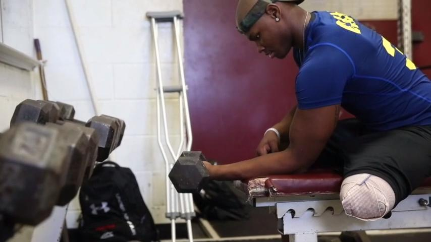 Cam Brown works out in the gym at Florida High on Thursday, July 6, 2017, one week after having his left leg amputated due to complications with osteosarcoma, a type of bone cancer.