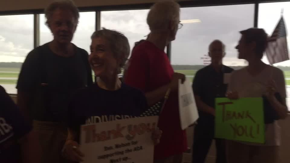 Although U.S. Senator Bill Nelson showed up 25 minutes early for a news conference, he still was ambushed by ACA supporters wanting to thank him for his vote two weeks ago.