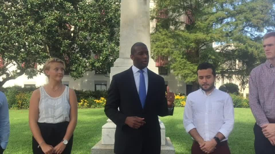 Tallahassee Mayor Andrew Gillum called for the removal of Confederate monuments Saturday as he stood in front of one on the Old Capitol lawn.