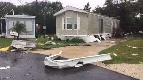 Watch it: Palm Bay mobile homes damaged as Irma approaches