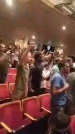 Watch it: Students are chanting and booing
