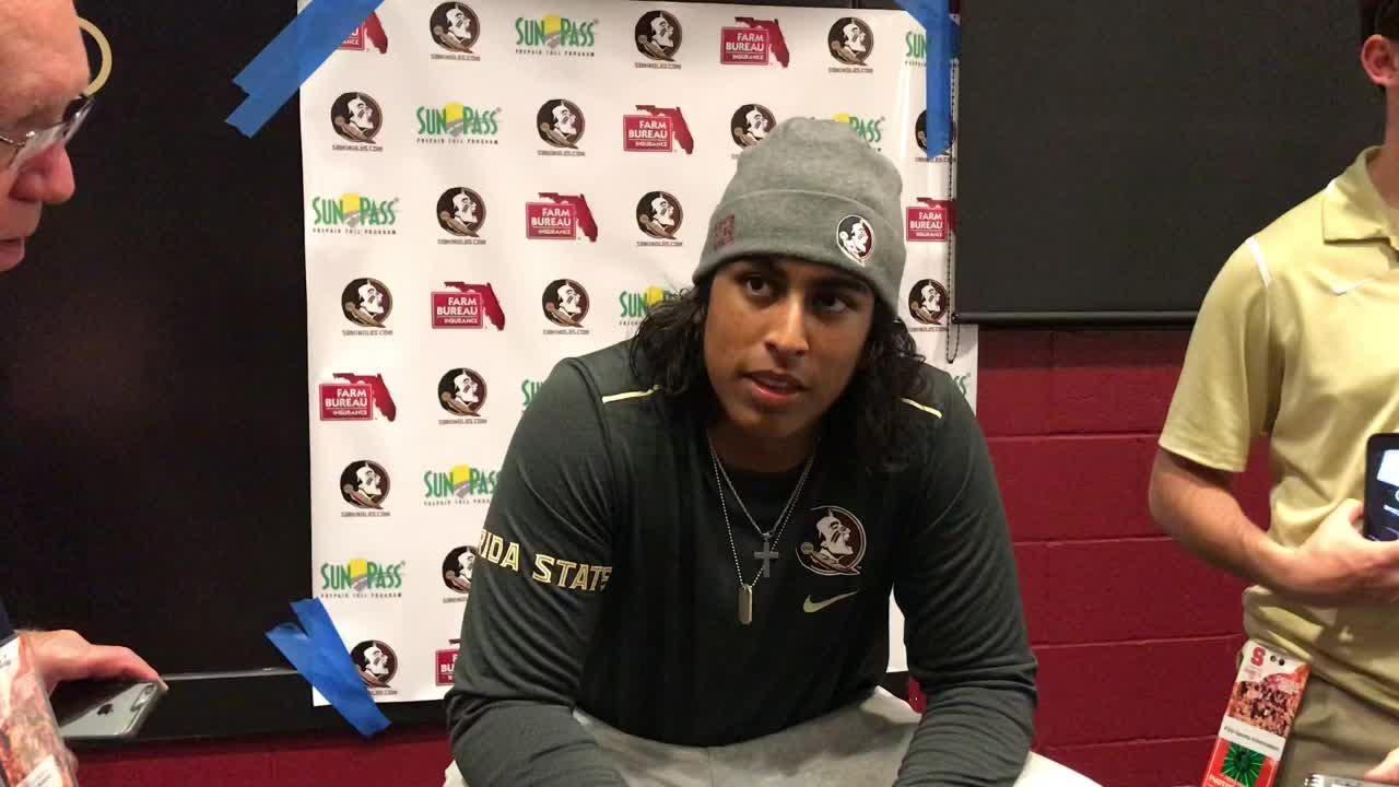 FSU kicker Ricky Aguayo speaks to the media after the Seminoles' 27-24 win over Syracuse.