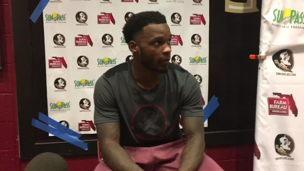 Levonta Taylor speaks to the media after FSU's 27-24 win over Syracuse.