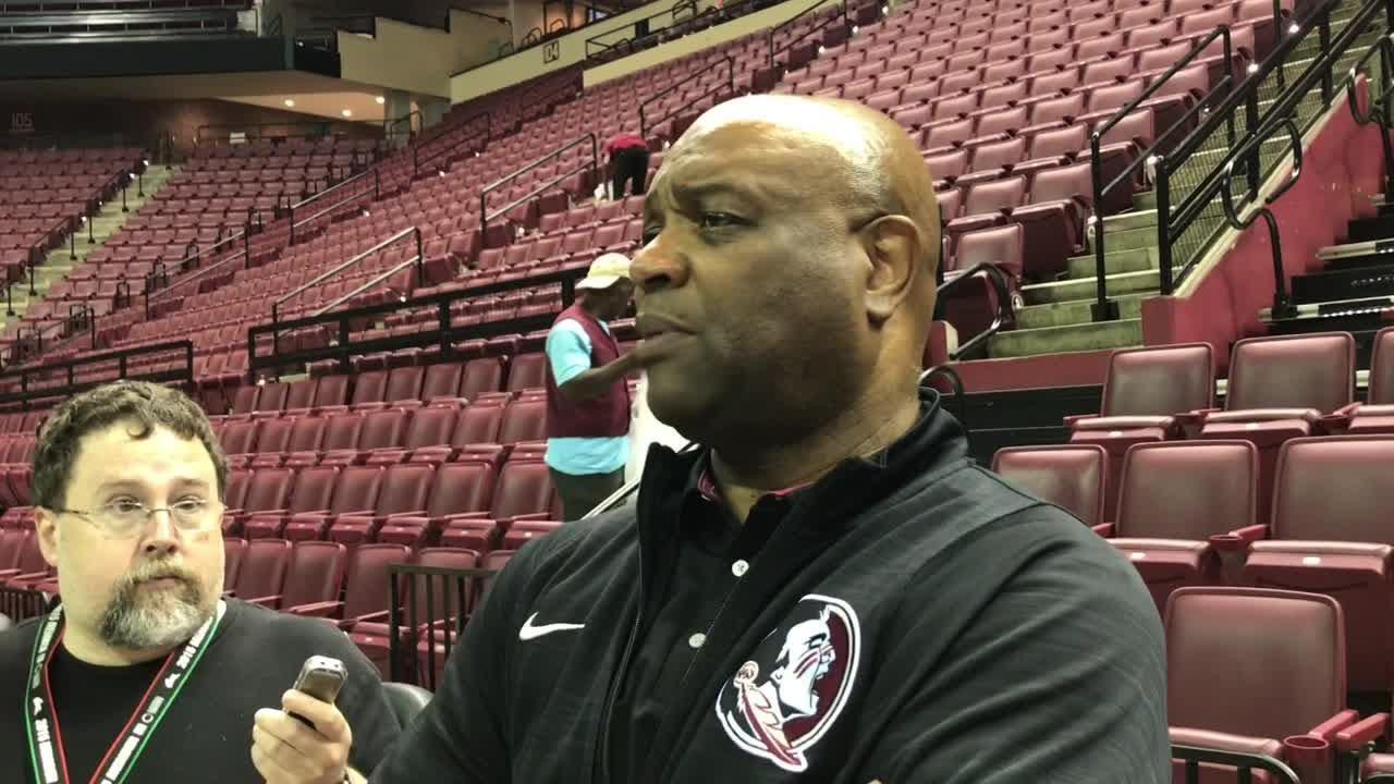 Leonard Hamilton speaks to the media after FSU's dominating victory over Thomas University