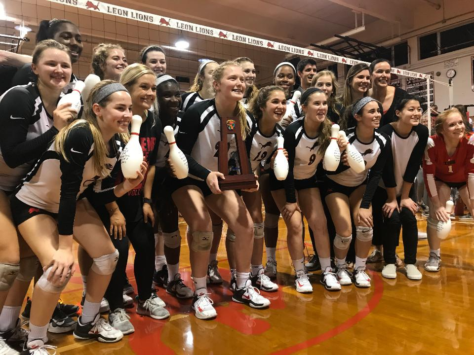 Watch as Leon's volleyball team wins its final points for a regional title, and listen to senior Kate Carter talk about the win, her hero set-point, and the Lions' advancement to the state tournament for the third straight year.