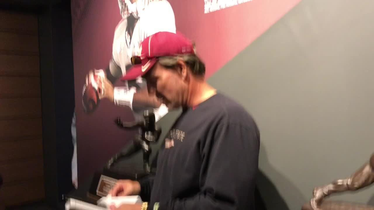 FSU coach Jimbo Fisher speaks to the media after the Seminoles practice on Thursday.