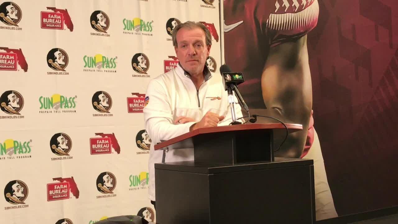 Florida State coach Jimbo Fisher speaks to the media on Monday.