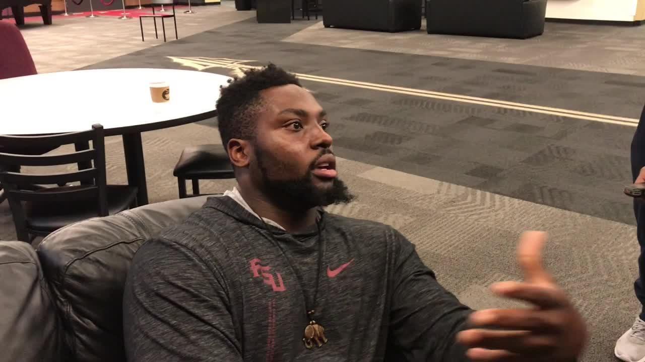 Florida State defensive tackle Derrick Nnadi speaks to the media on Nov. 14.