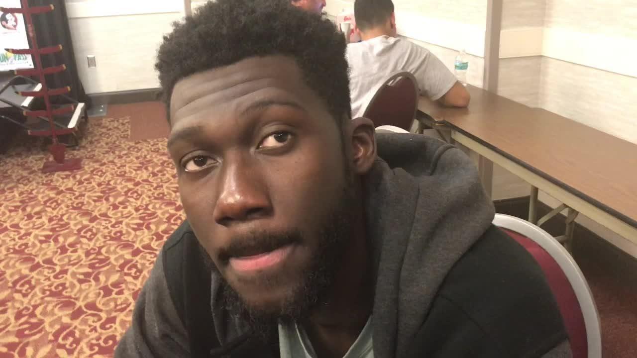 Christ Koumadje speaks after FSU's 87-67 win over George Washington.