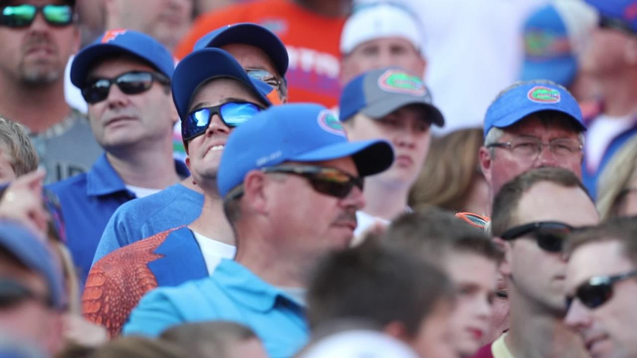 Florida Gator fans sing the classic Tom Petty song at Ben Hill Griffin Stadium