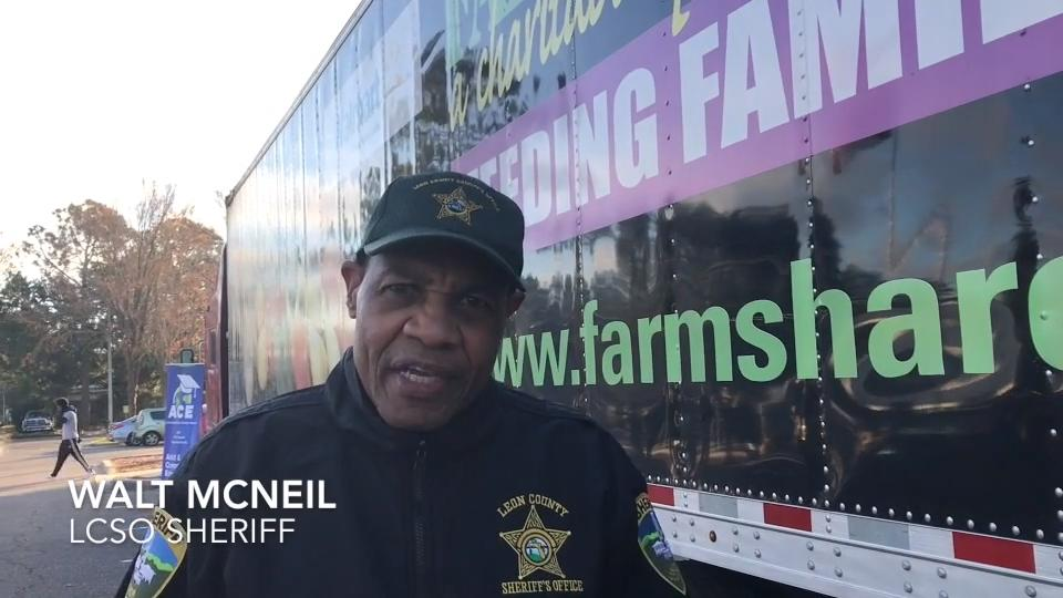 Farm Share and the Leon County Sheriff's Office partnered on Jan. 13 to distribute groceries to 600 people in the community.