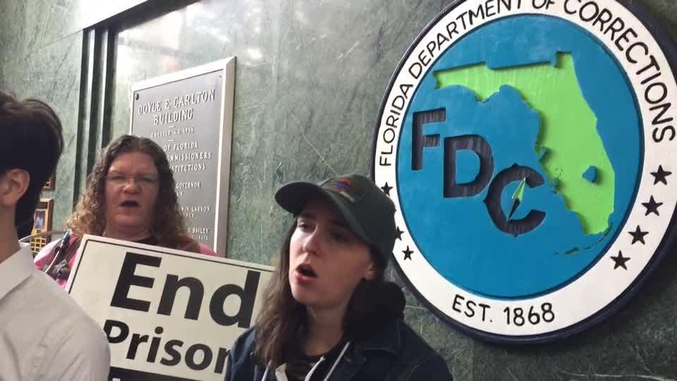Coalition protests exploitation of prisoners in the Florida DOC at Tallahassee headquarters