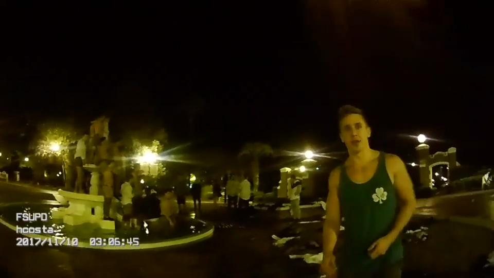 FSUPD officer's body camera captures Chi Phi members caught celebrating their initiation into the fraternity in their underwear at Westcott Fountain. The incident occurred on Nov. 10, seven days after Andrew Coffey died from alcohol poisoning.