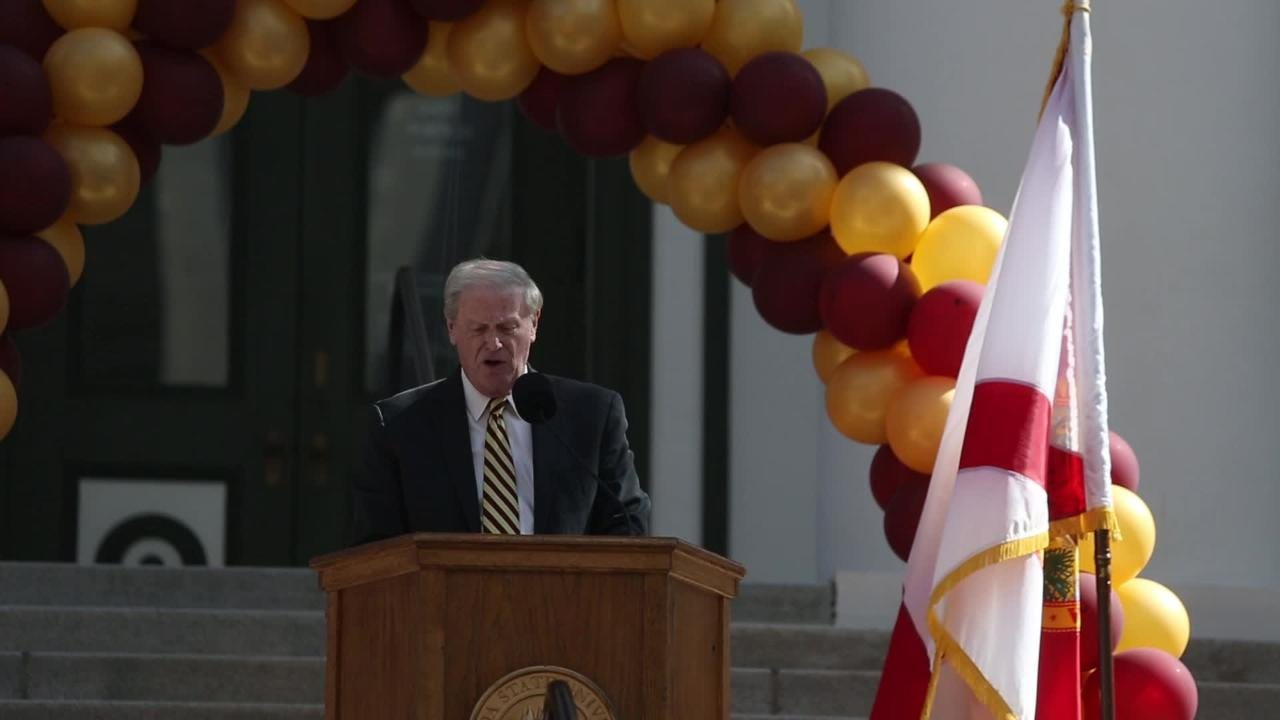 FSU Day festivities at the Capitol Feb 6 included speeches by University President John Thrasher and Head Football Coach Willie Taggart as well as performances by the Florida state Cheerleaders, Marching Chiefs and Golden Girls.